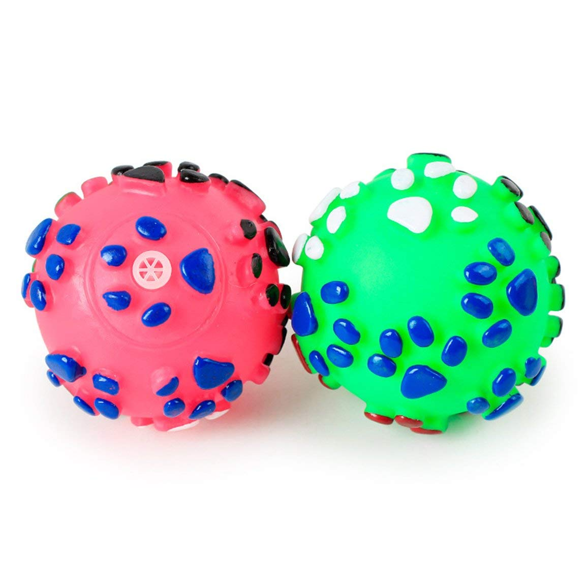 Garciasia Puppy Dog Squeaky Fetch Ball Toys Juguete masticable Resistente a la mordida para masticadores agresivos Dise/ño Colorido Lindo de la Bola Color: Color Aleatorio