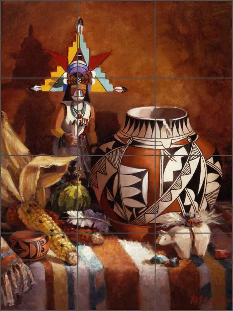 17 x 12.75-4.25 Tiles Southwest Art Tile Mural Backsplash Ceramic Hopi Pot and Butterfly Kachina by Maxine Johnston