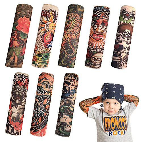 8 PCS Tattoo Sleeve for Kids, Arts Fake Slip on Arm Sunscreen Sleeves,UV Sun Protection Cooling Arm Sleeves for Kid Child Baby by Ispeedytech