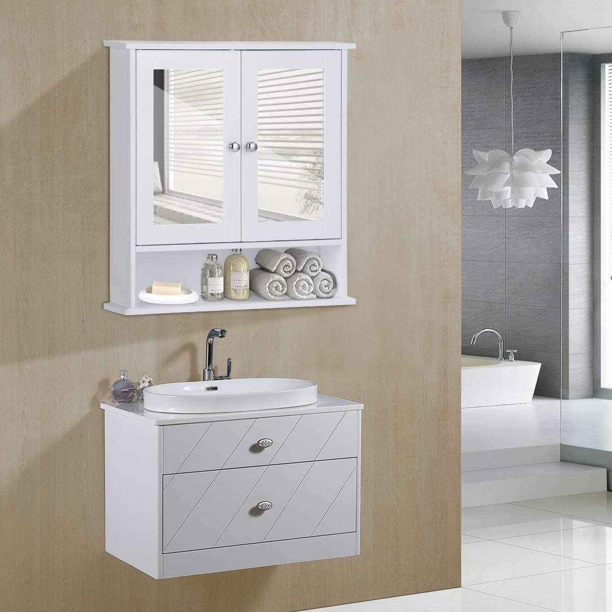 Giantex Armoire de Toilettes Commode Salle de Bain Meuble Blanc Suspendu Dressoir Mural avec 2 Portes Miroir Rangement avec /Étag/ères