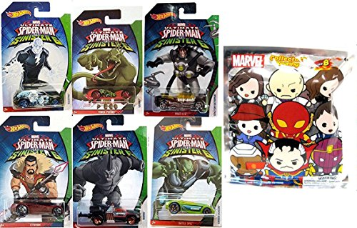 Hot Wheels Marvel Spider-Man Sinister 6 Villain Exclusive set Collectible 6 car bundle & Series 5 Figure Keyring Blindbag Doctor Octopus / Lizard / Electro / Rhino / Green Goblin / Kraven Car Bundle (Spider Man Electro Costume)