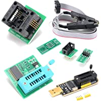 CH341A USB Programmer Kit with SOP8 Clip EEPROM Burner BIOS Flasher SPI Flash Programmer Kit with 1.8V Adapter and…