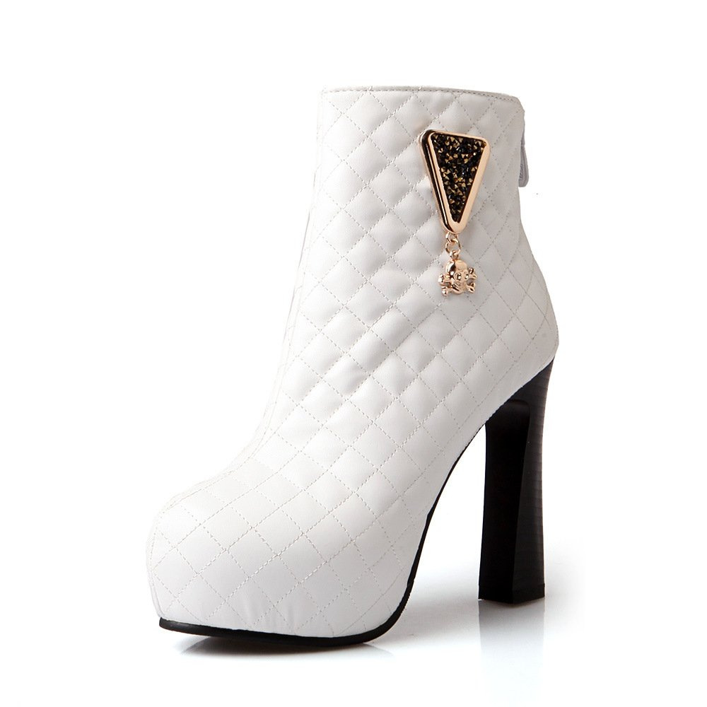 - DYF Chaussures Talon Haut Bottes Courtes Tableau étanche en Métal de Couleur Solide,Blanc 41