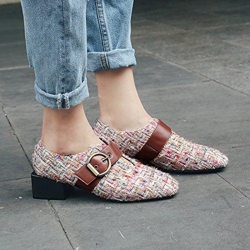 4cm Profunda Zapatos Europa Cinturón Gruesos Y Casuales Mujer América Apricot Cuadrada Hebilla Poco Muyii De Cabeza Boca Spring Con New xq6d0wIwA