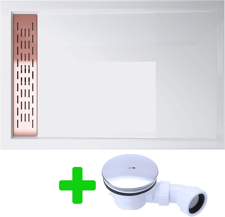 Plato de ducha (Design 5 cm bandeja de ducha acrílico xetro04 W 90 ...