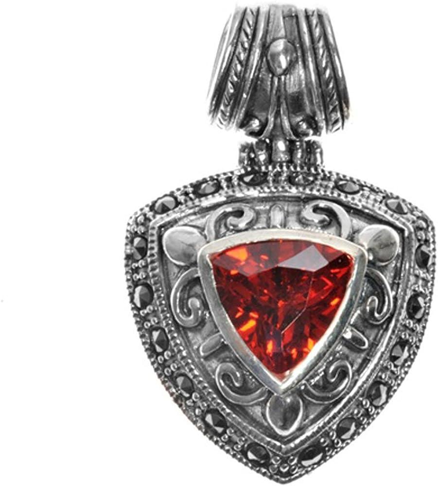 Sterling Silver Medieval Filigree Swirl Shield Pendant Simulated Garnet Charm