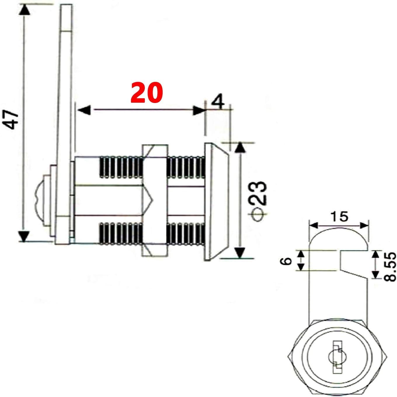 cerradura de caj/ón cerradura de puerta de ara/ña cerradura de armario VOLGA 4 cierres de cilindro para buz/ón con 8 llaves