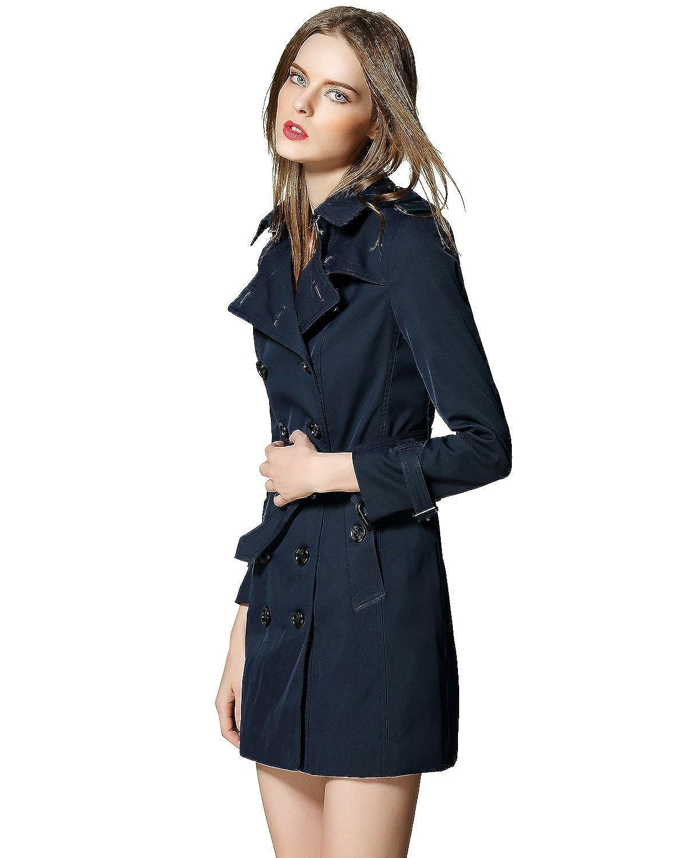 238cfa7b1f5 Amazon.com  Burdully Women s Trench Coat Double Breasted Slim Wind Coats  with Belt Long Sleeve Jacket  Clothing