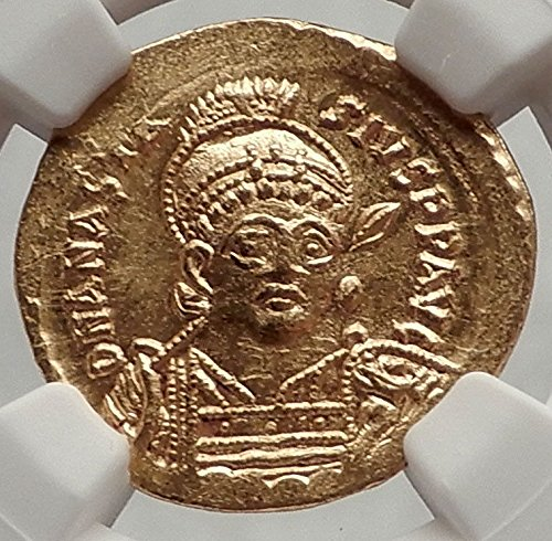 491 TR ANASTASIUS 491AD Authentic Ancient Byzantine AV S coin MS (Byzantine Bronze Coins)