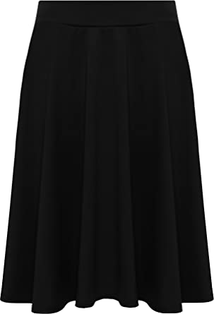 f01c7fb5ff8 WearAll Womens Plus Size Plain Flared Elastic Waist Ladies Short Skater  Skirt - Sizes 14-28  Amazon.co.uk  Clothing