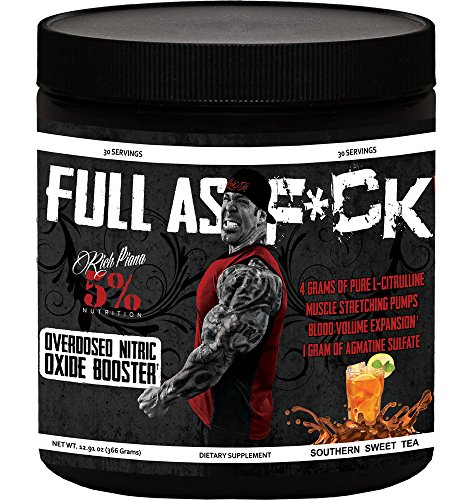 Rich Piana 5% Nutrition FULL AS F*CK Overdosed Nitric Oxide Booster (Southern Sweet Tea) 12.70oz (360 Grams) 30 Servings