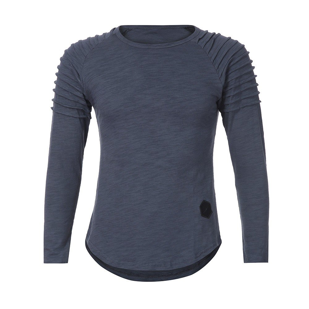 Realdo Fashion Casual Slim Solid Crewneck Pleated Pullover Shirt Top