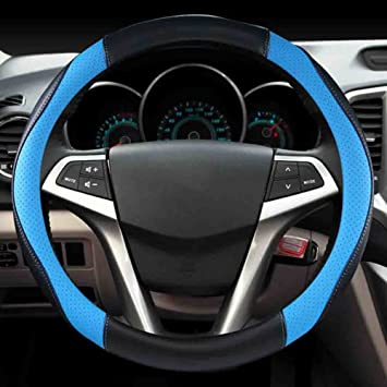 Steering Wheel Cover Leather Car Steering Wheel Cover Sporty Curves Durable Thick Anti-Slip,Blue-38CM Steering Wheels & Accessories Interior Accessories