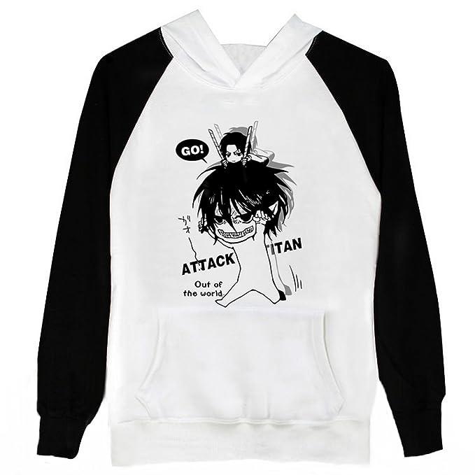 Attack On Titan Shingeki no Kyojin traje de Cosplay Anime negro blanco sudadera con capucha talla M: Amazon.es: Ropa y accesorios