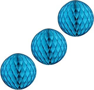 "product image for 12"" Honeycomb Tissue Paper Ball Decoration (3-Pack, Turquoise)"