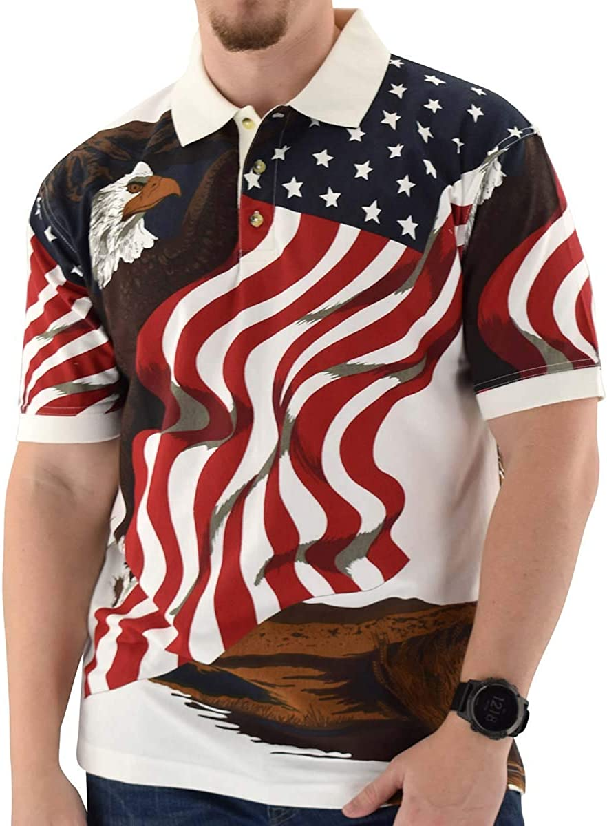 Cotton Traders TheFlagshirt Men's American Flag Patriotic Golf Shirt