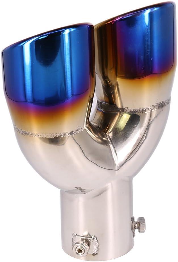 62MM Diametro tubo di scarico Trim Acciaio inox Silenziatore Coda universale Doppia uscita PipeBlue