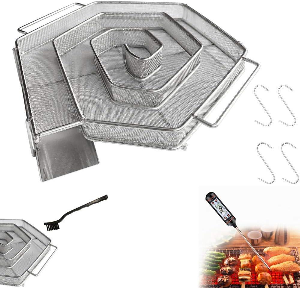 CCDSR - Horno para ahumar de acero inoxidable, horno eléctrico de bajo consumo, generador de humo, ahumado en frío, incluye termómetro de barbacoa, cepillo de limpieza (21 cm), no incluye pilas
