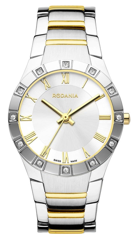 RODANIA Swiss Salina Damen Quarzuhr mit Silber Zifferblatt Analog-Anzeige und zweifarbigem Armband Edelstahl rs