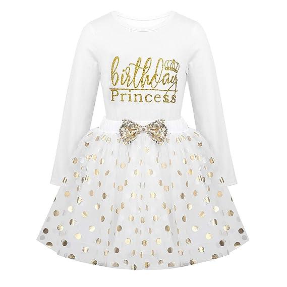 iixpin Traje Infantil de Cumpleaños Princesa 2Pcs Camiseta Manga ...