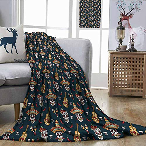 (SONGDAYONE Home Blanket Mexican Easy to Care Detailed Artistic Floral Sugar Skulls with Sombrero Hats Chili Peppers and Guitars Multicolor W54 xL84)