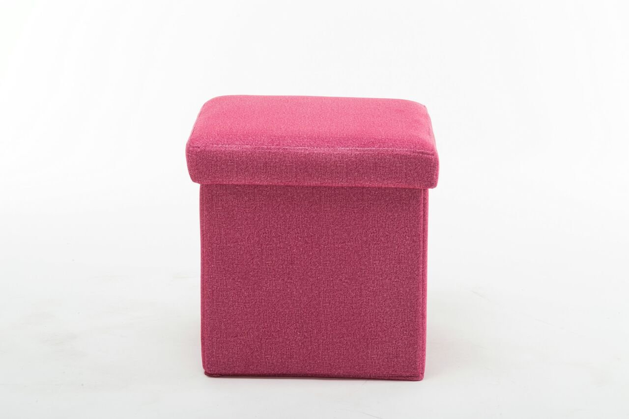 Boraam Upholstered Folding Storage Ottoman, Pink