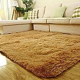 Sytian 4 Feet X 5 Feet 4.5cm Thick Decorative Modern Shaggy Area Rugs Super Soft Bedroom Rug Living Room Sitting-room Carpet (Khaki) Review