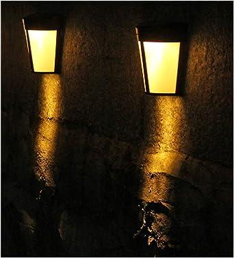 2 lámparas de pared para exteriores, con 6 luces solares, lámpara de noche para jardín, camino de paisaje, valla de patio, blanco cálido: Amazon.es: Iluminación