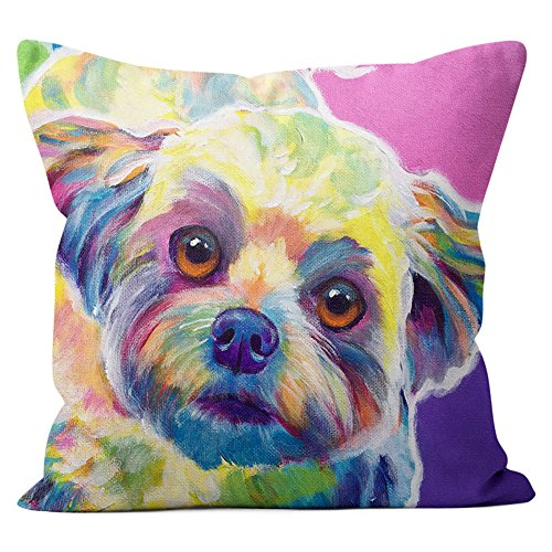 Maltese Bichon Havanese Pillow Throw Pillow Couch Cushion Decorative Accent Pillowcase Case Cover Dog Lover Gift Pet Gifts Dogs Colorful Art (18 Inch X 18 Inch With Pillow Insert) (Pop Pet Art)
