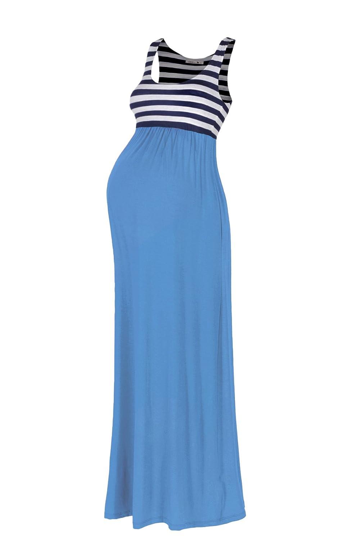 Beachcoco Women\'s Maternity Stripe Maxi Tank Dress at Amazon Women\'s ...