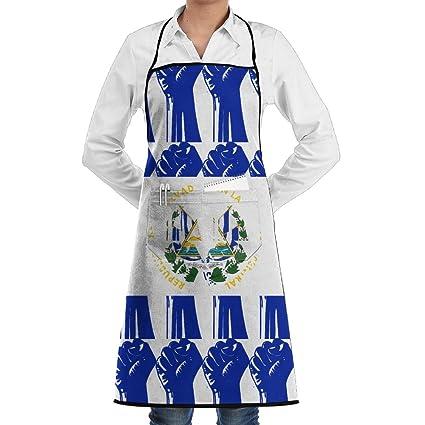El Salvador Bandera puño – Delantales de cocina delantales de trabajo delantales con bolsillos, 28