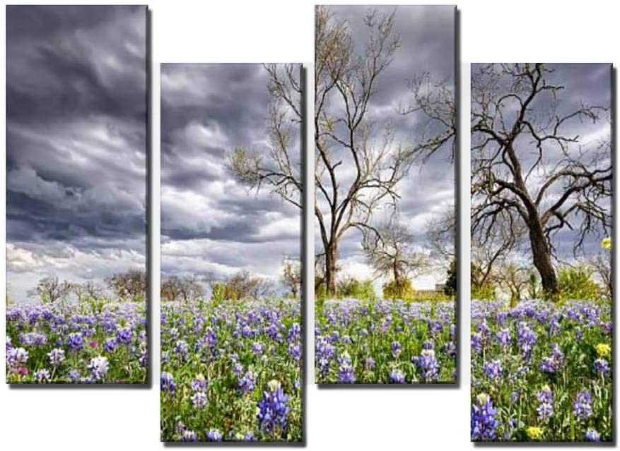 Wocatton Bluebonnets in The Texas Hill Country Wall Art Background Decor Pictures Print On Canvas Art Stretched and Framed Perfect Home Decoration