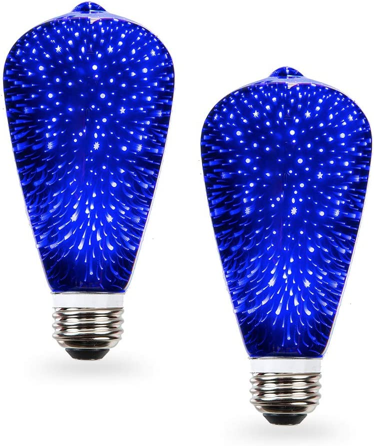 SleekLighting Blue 3D Fairy Like Firework Light Bulb with Galaxy Inspired Light; ST19 LED Medium Base Lightbulb for Most Lamps Pendant and Ceiling Fixtures; Blue Colored Decorative Style Light Bulb