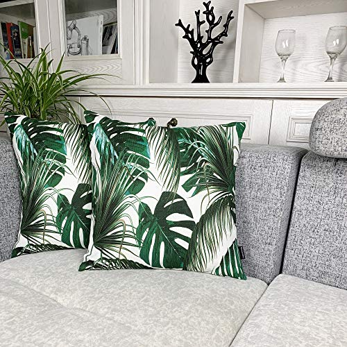 (Booque Valley Tropical Leaves Pillow Covers, Pack of 2 Palm Tree Leaves Cushion Covers, Vibrant Digital Printing on Polylinen Woven Fabric Pillow Cases, Decorative Pillows 17 x 17 inch(Green))