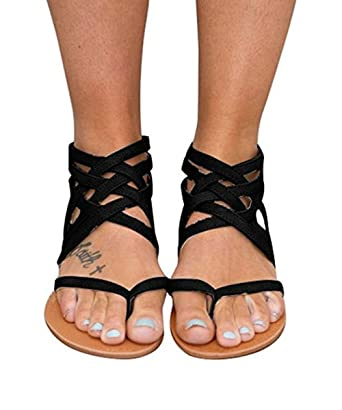 ba47f605c6c Amazon.com  Chellysun Women Gladiator Criss Cross Flat Sandals Flip Flop  Strappy Shoes with Zipper  Clothing