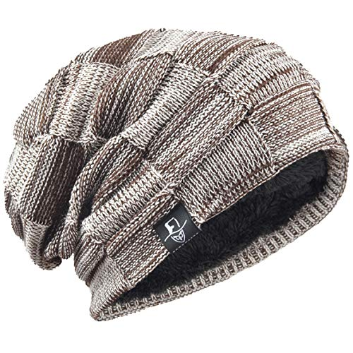 Wool Leggings Plaid (VECRY Mens Beanie Hat Fleece Lined Knit Hat Thick Skull Cap (Plaid-Brown))