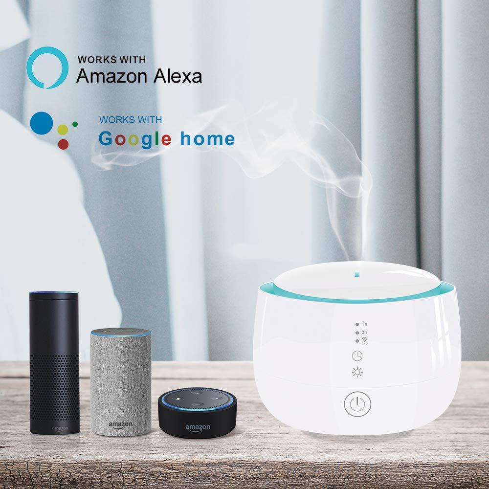 Benexmart Smart Essential Oil Aroma Diffuser Cool Mist humidificador con 7 luces LED de colores modo de niebla ajustable RGB LED L/ámpara de escritorio Trabaja con Alexa Google Home Voice APP Control