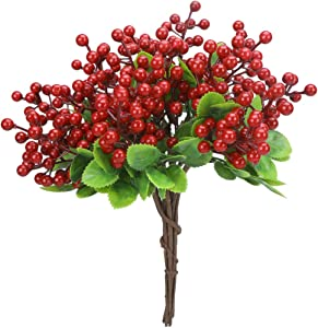 Greentime 10 Pcs Artificial Berry Stems Fake 9.9 Inches Christmas Red Berries Faux Holly Berries Branches for Christmas Wreath Holiday Home Decor