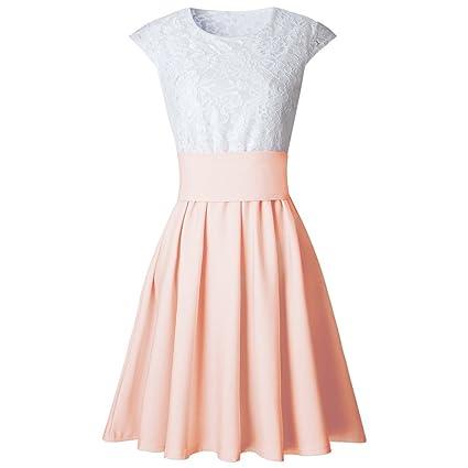 17fc958de740 Amazon.com  Clearance Dress Thenlian Womens Lace Party Cocktail Mini Dress  Ladies Summer Short Sleeve Skater Dresses (Khaki
