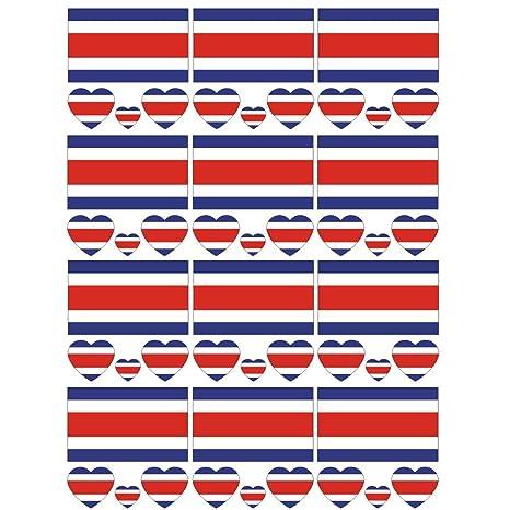 SpringPear® 12x Tatuaje Temporal de la Bandera de Costa Rica para ...