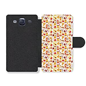 Junky Food Pizza Fries Burger Pattern Illustration Faux Leather case for Samsung Galaxy S3