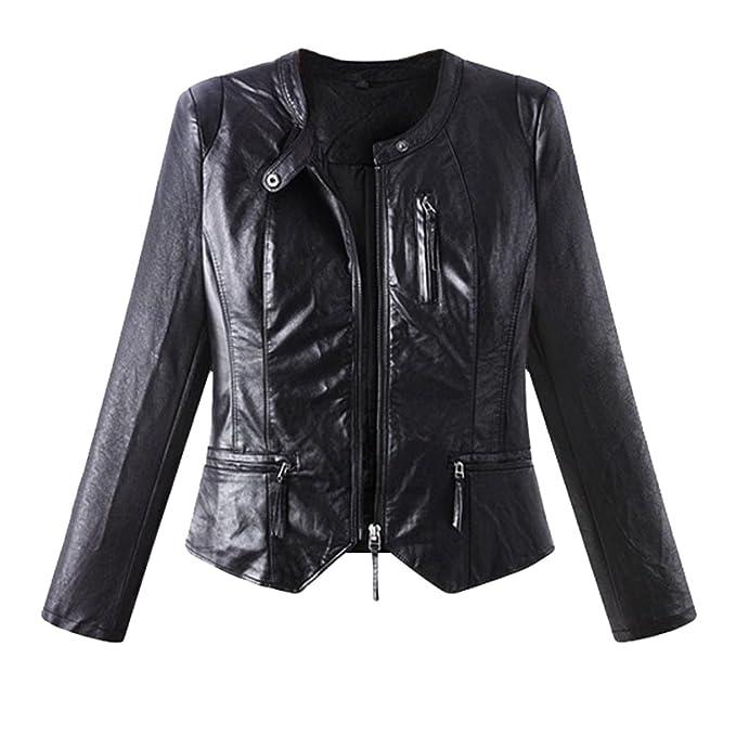 LINNUO Mujer Moda Irregular Slim Chaquetas De PU Cuero Abrigo Biker Cazadora Corto Cuello Redondo Negro
