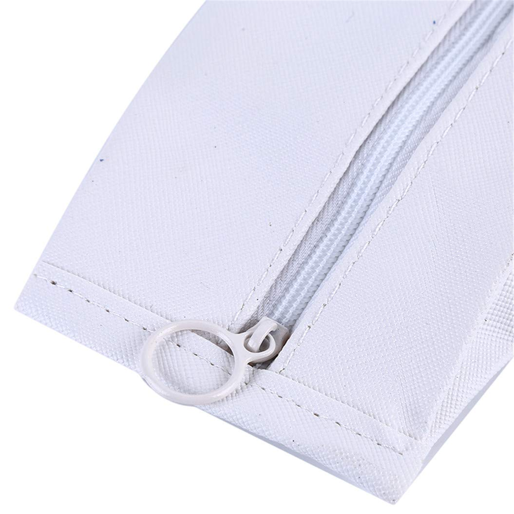 LZIYAN Cute Pen Case Large Capacity Pencil Holder With Zipper PU Leather Waterproof Stationery Storage Bag For Student,White by LZIYAN (Image #6)