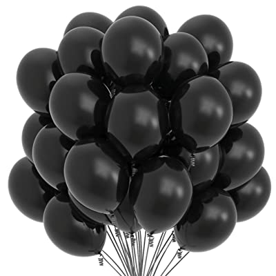 Prextex 75 Black Party Balloons 12 Inch Black Balloons with Matching Color Ribbon for Black Theme Party Decoration, Weddings, Baby Shower, Birthday Parties Supplies or Arch Décor - Helium Quality: Toys & Games