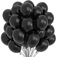 Prextex 75 Black Party Balloons 12 Inch Black Balloons with Matching Color Ribbon for Black Theme Party Decoration, Weddings, Baby Shower, Birthday Parties Supplies or Arch Décor - Helium Quality