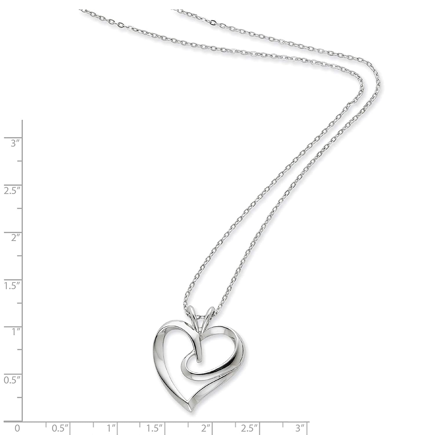 925 Sterling Silver Polished The Hugging Heart Pendant Necklace 18 by Sentimental Expressions