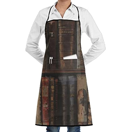 Unisex Kitchen Aprons Library Bookcase Bookshelf Chef Apron Cooking Barbecue