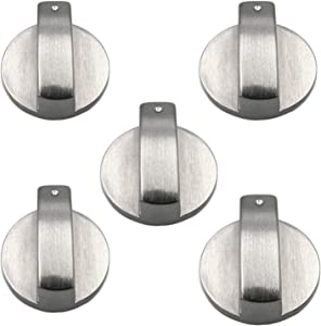 5PCS Metal Gas Stove Knob, 6mm Silver Gas Stove Control,Knobs Adaptors Oven Switch Cooking Surface Control Locks