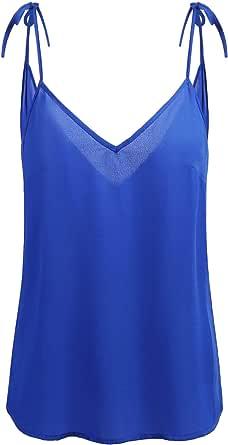 Concep Womens V Neck Chiffon Top Sleeveless Tank Loose Flowy Tie Cami Shirt S-XL