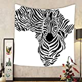 Gzhihine Custom tapestry Ambesonne Safari Decor Collection Illustration with Africa Map and Traditional Local Lady Savannah Ceremony Features Tribe Print Bedroom Living Room Dorm Tapestry Multi